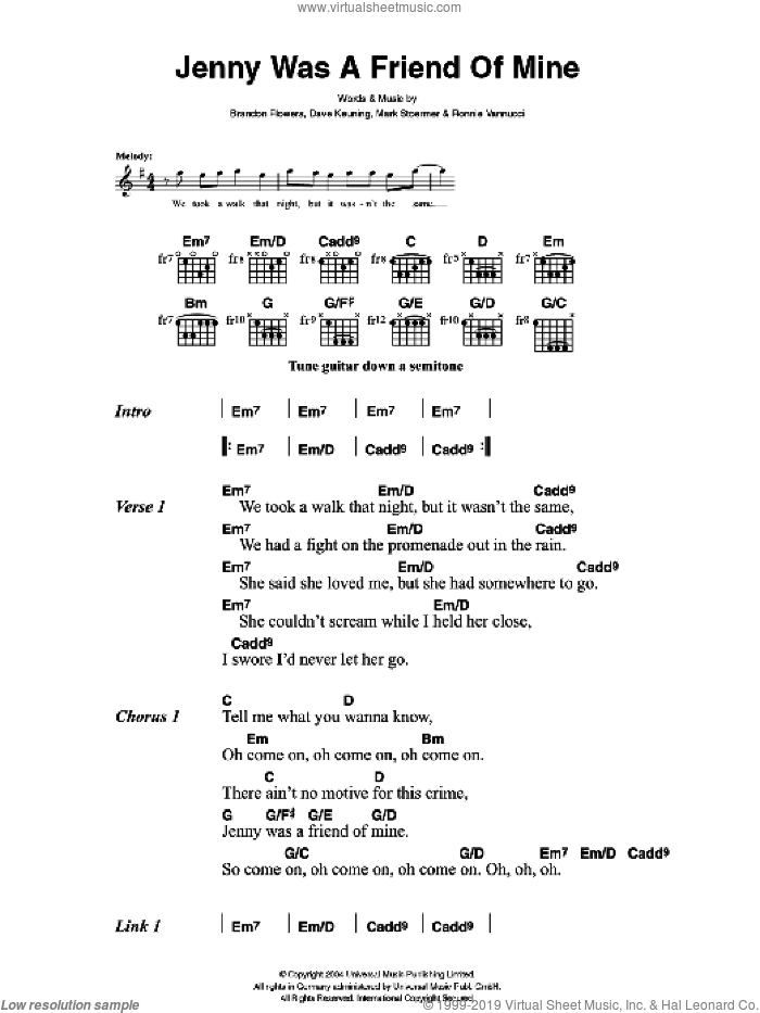 Jenny Was A Friend Of Mine sheet music for guitar (chords) by The Killers, Brandon Flowers, Dave Keuning, Mark Stoermer and Ronnie Vannucci, intermediate skill level