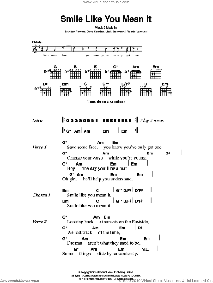 Killers - Smile Like You Mean It sheet music for guitar (chords)