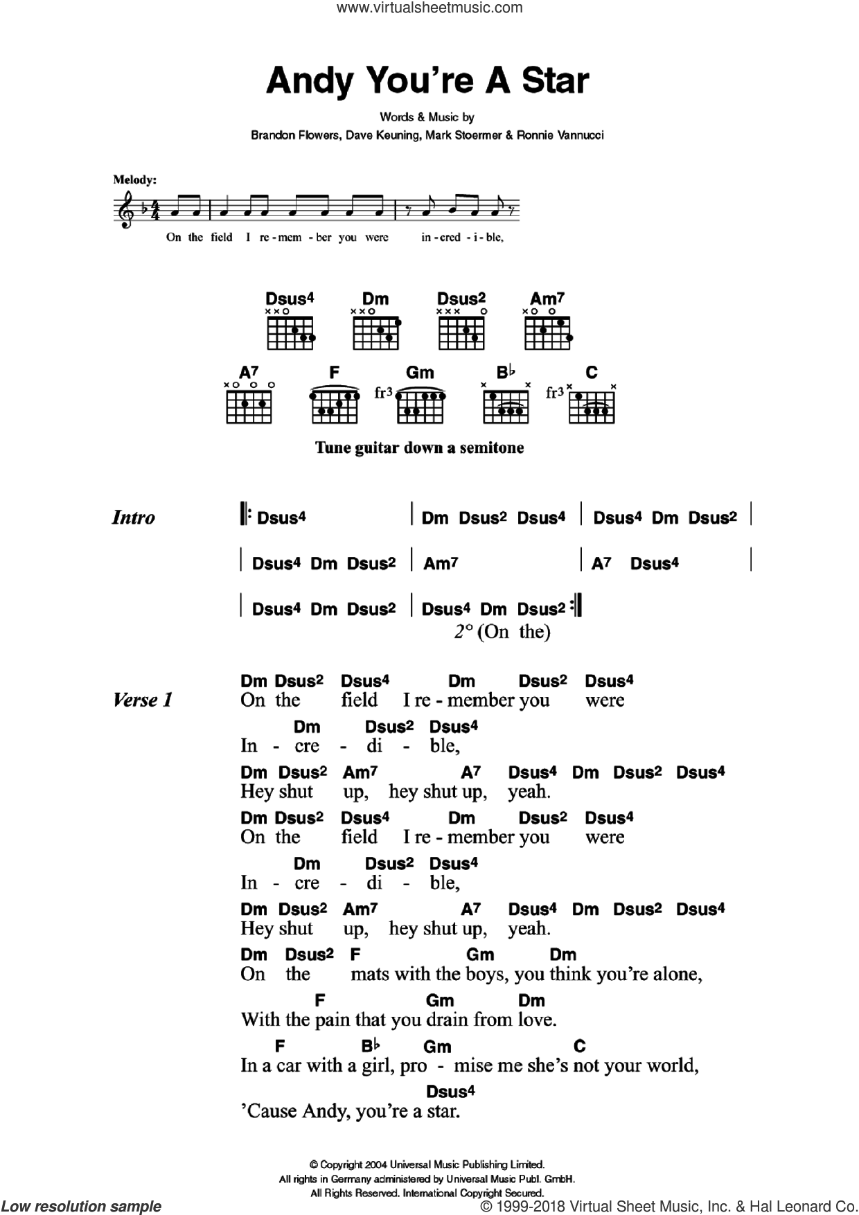 Andy You're A Star sheet music for guitar (chords) by The Killers, Brandon Flowers, Dave Keuning, Mark Stoermer and Ronnie Vannucci, intermediate skill level