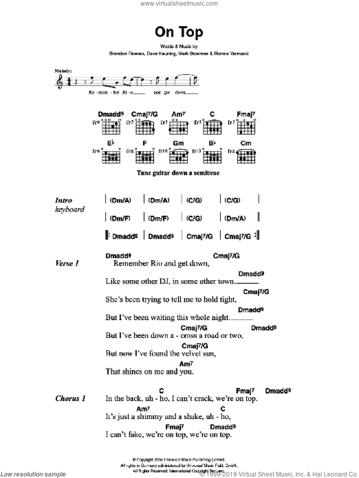 On Top sheet music for guitar (chords) by The Killers, Brandon Flowers, Dave Keuning, Mark Stoermer and Ronnie Vannucci, intermediate skill level