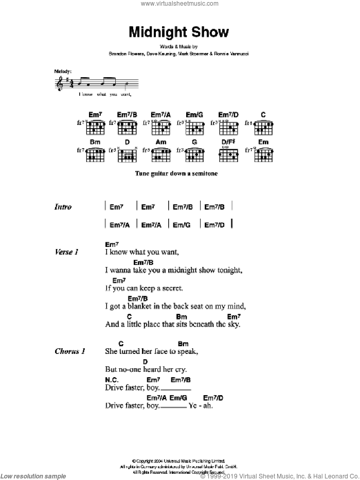 Midnight Show sheet music for guitar (chords, lyrics, melody) by Brandon Flowers