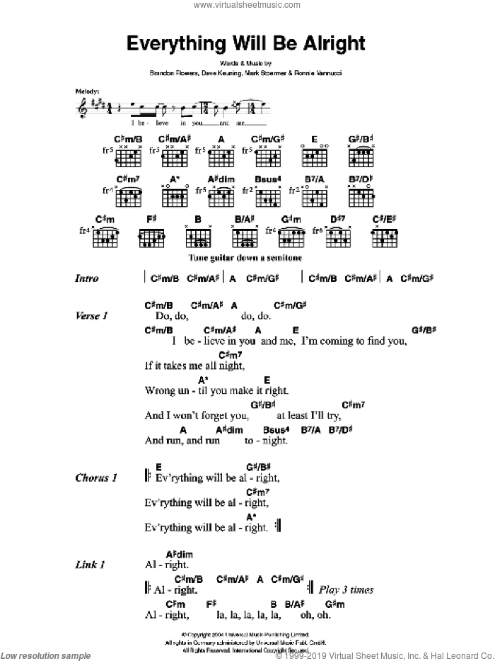Everything Will Be Alright sheet music for guitar (chords) by Brandon Flowers