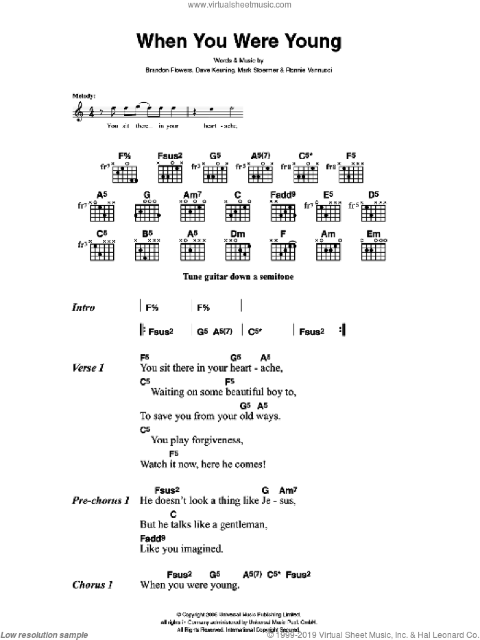 When You Were Young sheet music for guitar (chords) by The Killers, Brandon Flowers, Dave Keuning, Mark Stoermer and Ronnie Vannucci, intermediate. Score Image Preview.