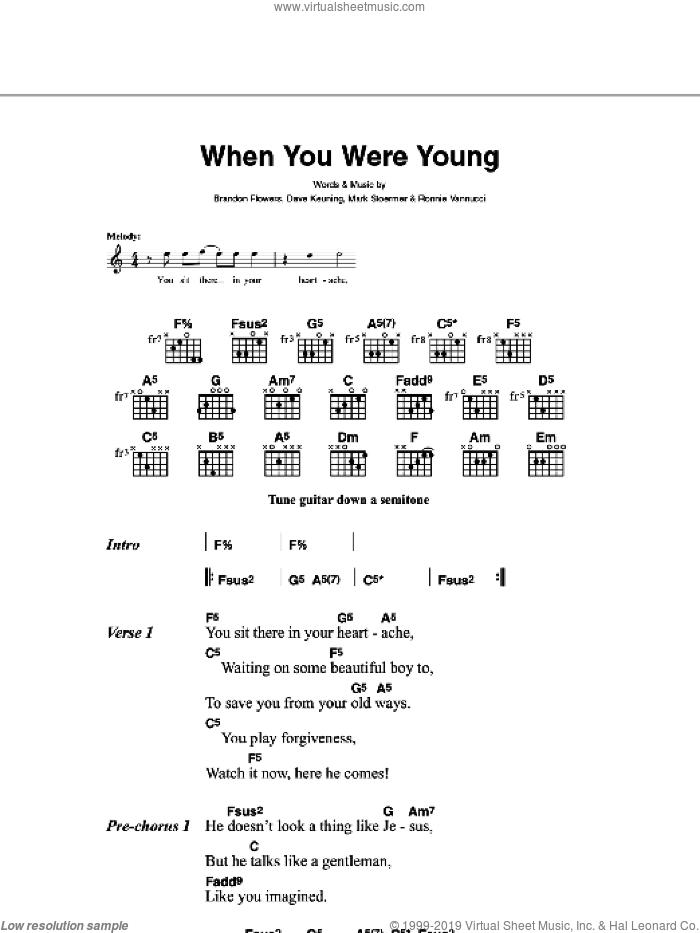 Killers - Bones sheet music for guitar (chords) [PDF]