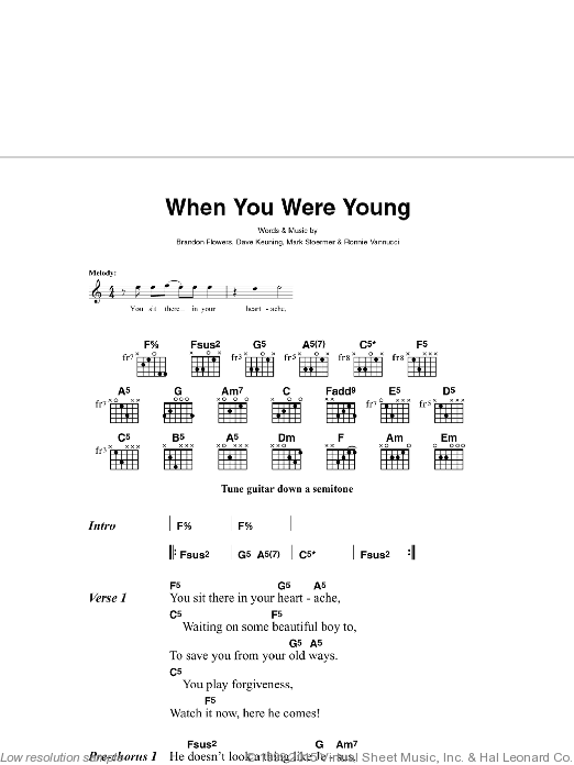 All The Pretty Faces sheet music for guitar solo (chords, lyrics, melody) by Brandon Flowers