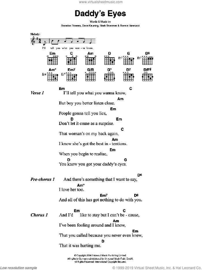 Daddy's Eyes sheet music for guitar (chords) by The Killers, Brandon Flowers, Dave Keuning, Mark Stoermer and Ronnie Vannucci, intermediate skill level