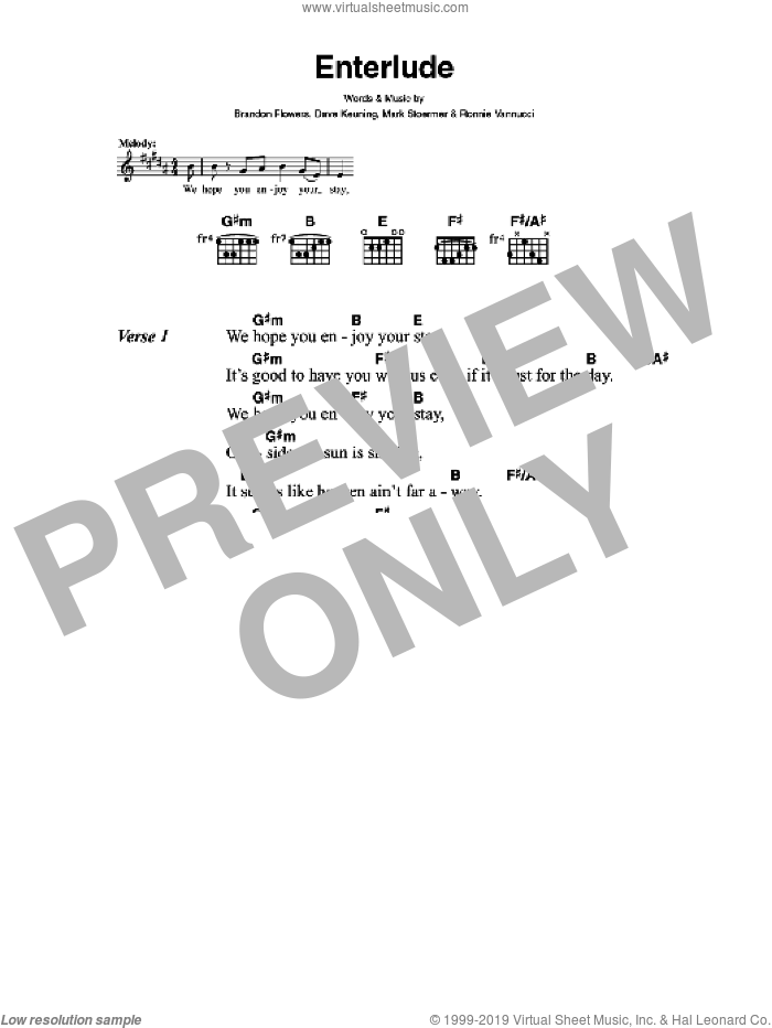 Enterlude sheet music for guitar (chords) by Brandon Flowers, The Killers, Dave Keuning, Mark Stoermer and Ronnie Vannucci. Score Image Preview.