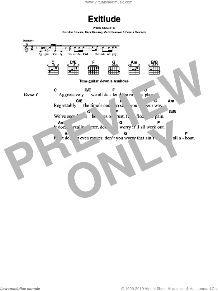 Exitlude sheet music for guitar (chords) by Brandon Flowers, The Killers, Dave Keuning, Mark Stoermer and Ronnie Vannucci. Score Image Preview.