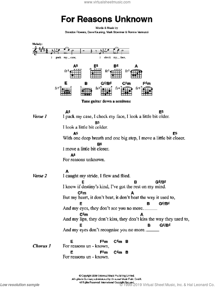 For Reasons Unknown sheet music for guitar (chords) by Brandon Flowers, The Killers, Dave Keuning, Mark Stoermer and Ronnie Vannucci. Score Image Preview.