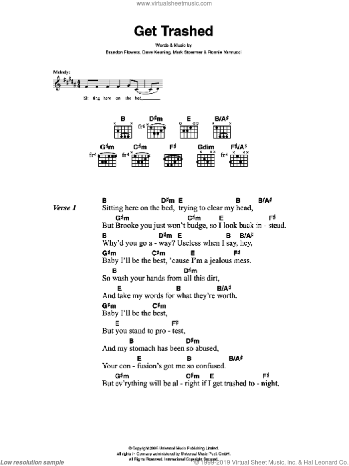 Get Trashed sheet music for guitar (chords) by Brandon Flowers