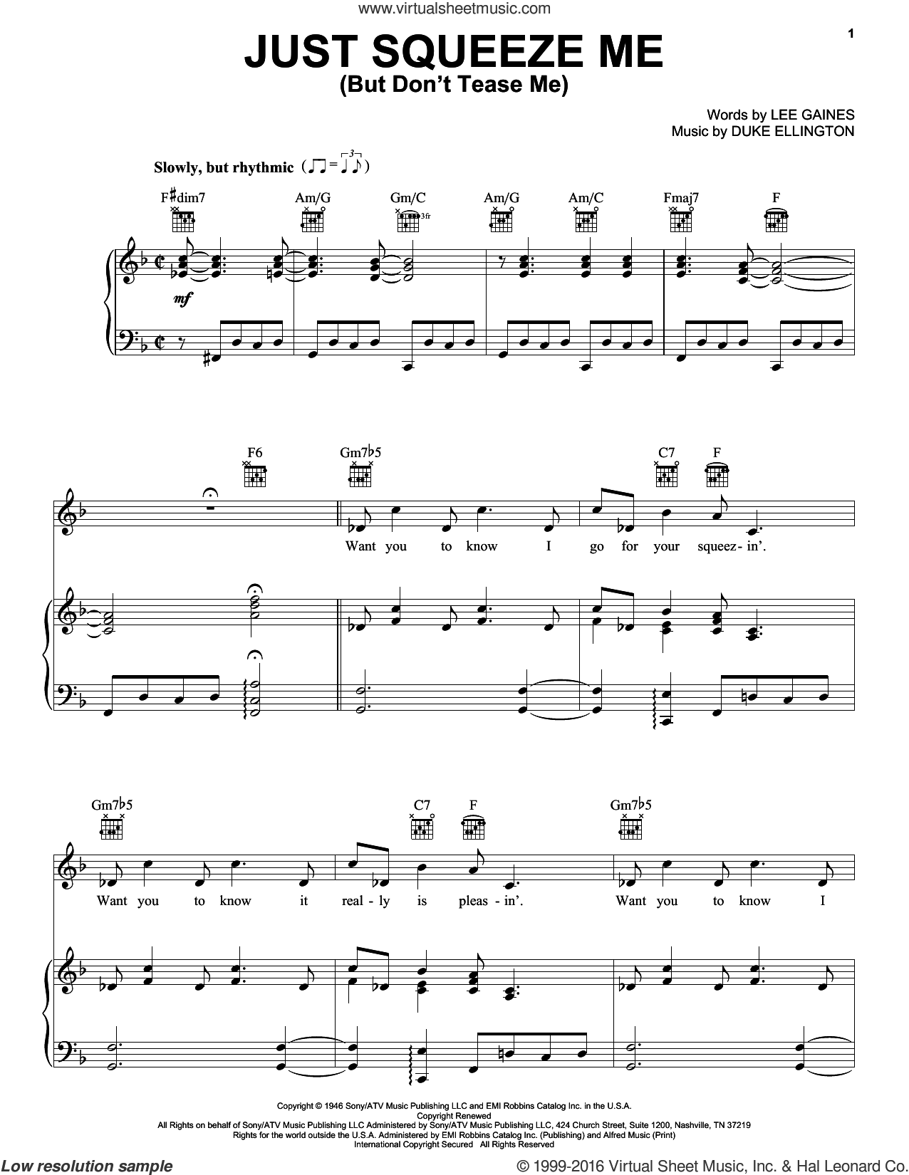 Just Squeeze Me (But Don't Tease Me) sheet music for voice, piano or guitar by Duke Ellington, Lena Horne and Lee Gaines, intermediate skill level