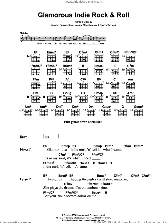 Killers - Glamorous Indie Rock And Roll sheet music for guitar (chords)