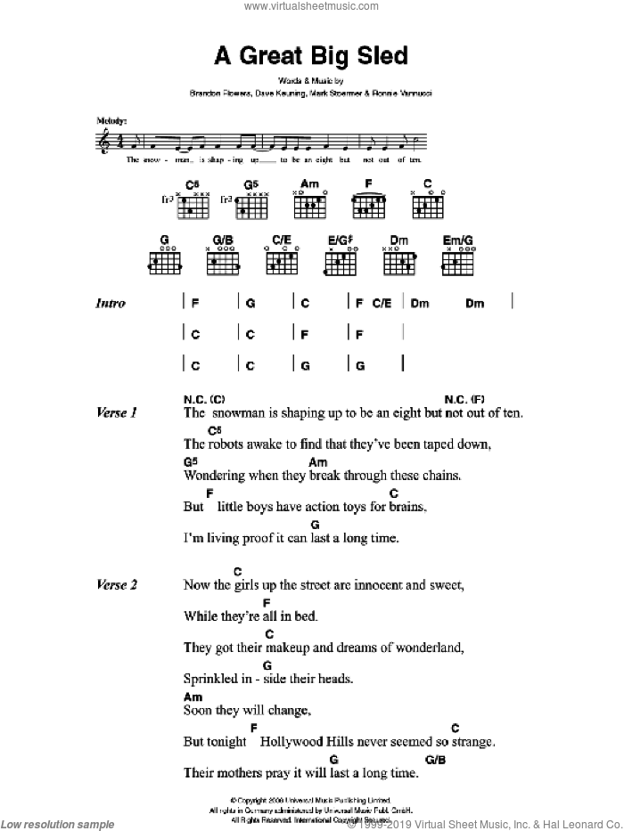 A Great Big Sled sheet music for guitar (chords) by Brandon Flowers