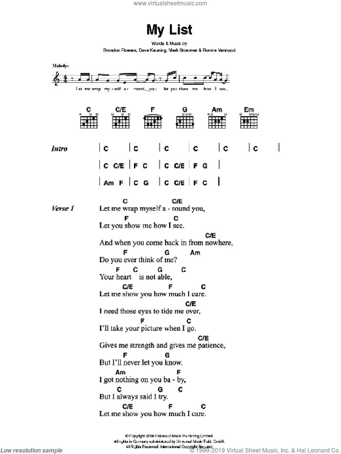 My List sheet music for guitar (chords) by Brandon Flowers, The Killers, Dave Keuning, Mark Stoermer and Ronnie Vannucci. Score Image Preview.
