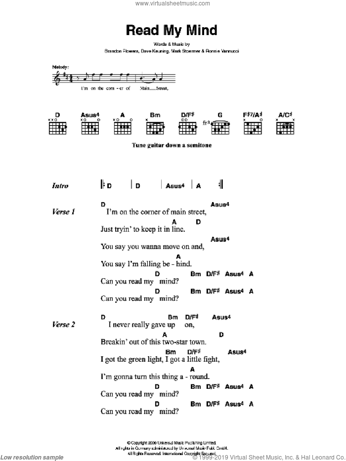 Read My Mind sheet music for guitar (chords) by The Killers and Brandon Flowers, intermediate guitar (chords). Score Image Preview.