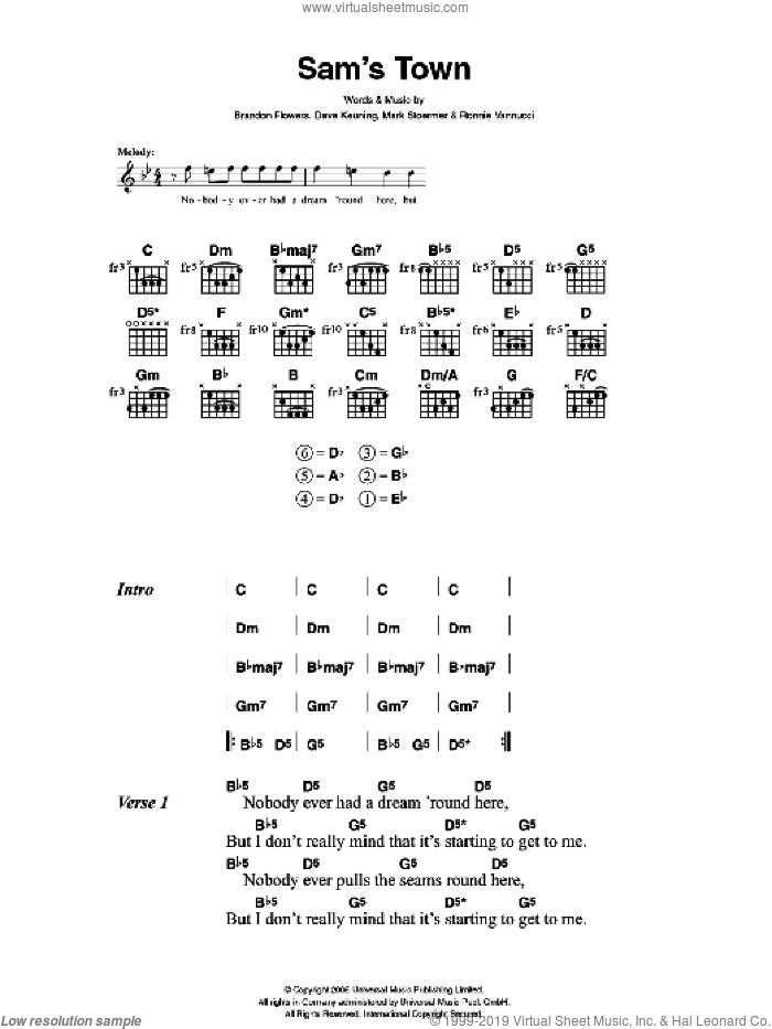 Sam's Town sheet music for guitar (chords) by Brandon Flowers, The Killers, Dave Keuning, Mark Stoermer and Ronnie Vannucci. Score Image Preview.