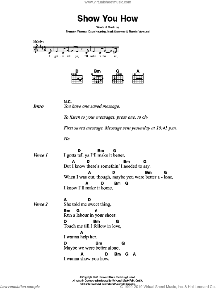Show You How sheet music for guitar (chords) by The Killers and Brandon Flowers, intermediate guitar (chords). Score Image Preview.