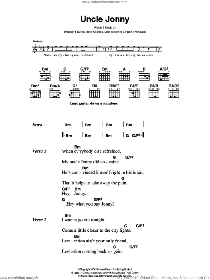 Uncle Jonny sheet music for guitar (chords) by The Killers, Brandon Flowers, Dave Keuning, Mark Stoermer and Ronnie Vannucci, intermediate skill level