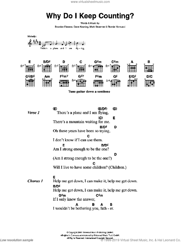 Why Do I Keep Counting sheet music for guitar (chords) by The Killers, Brandon Flowers, Dave Keuning, Mark Stoermer and Ronnie Vannucci, intermediate. Score Image Preview.