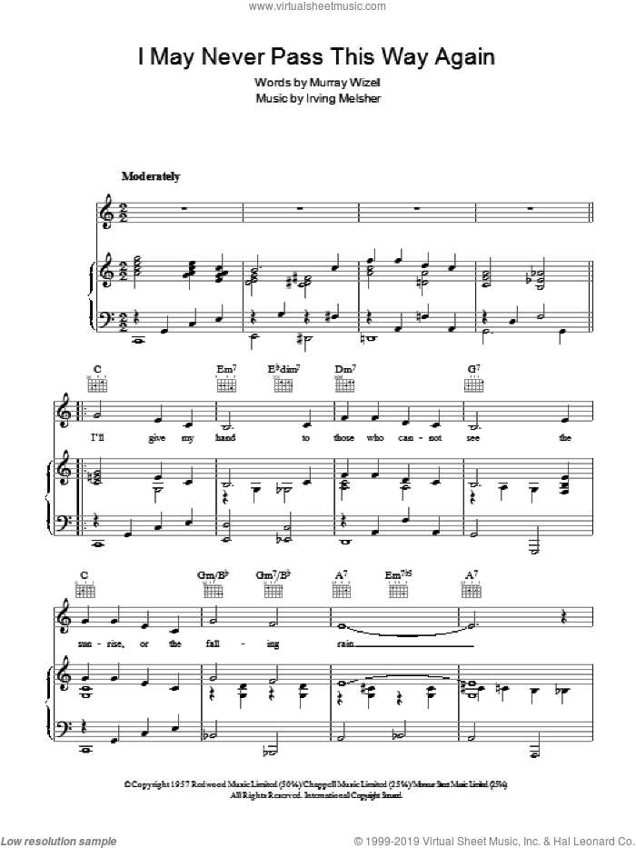 I May Never Pass This Way Again sheet music for voice, piano or guitar by Murray Wizell. Score Image Preview.