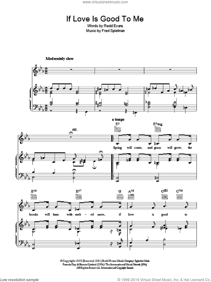 If Love Is Good To Me sheet music for voice, piano or guitar by Redd Evans and Fred Spielman, intermediate. Score Image Preview.