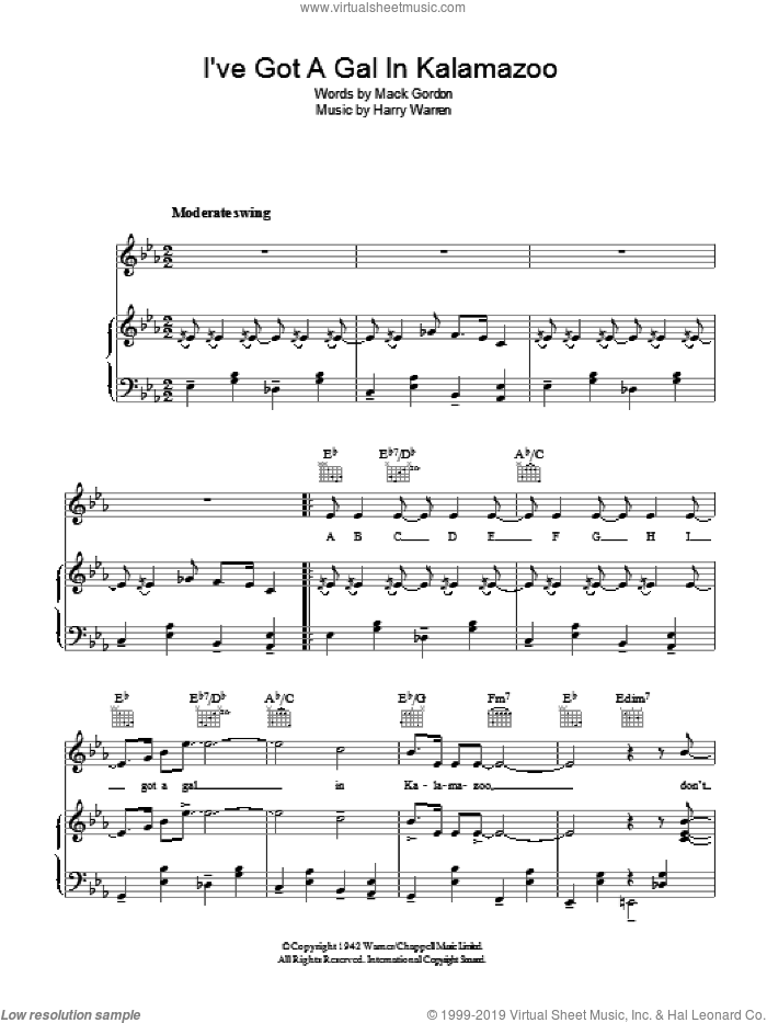 I've Got A Gal In Kalamazoo sheet music for voice, piano or guitar by Harry Warren and Mack Gordon, intermediate. Score Image Preview.