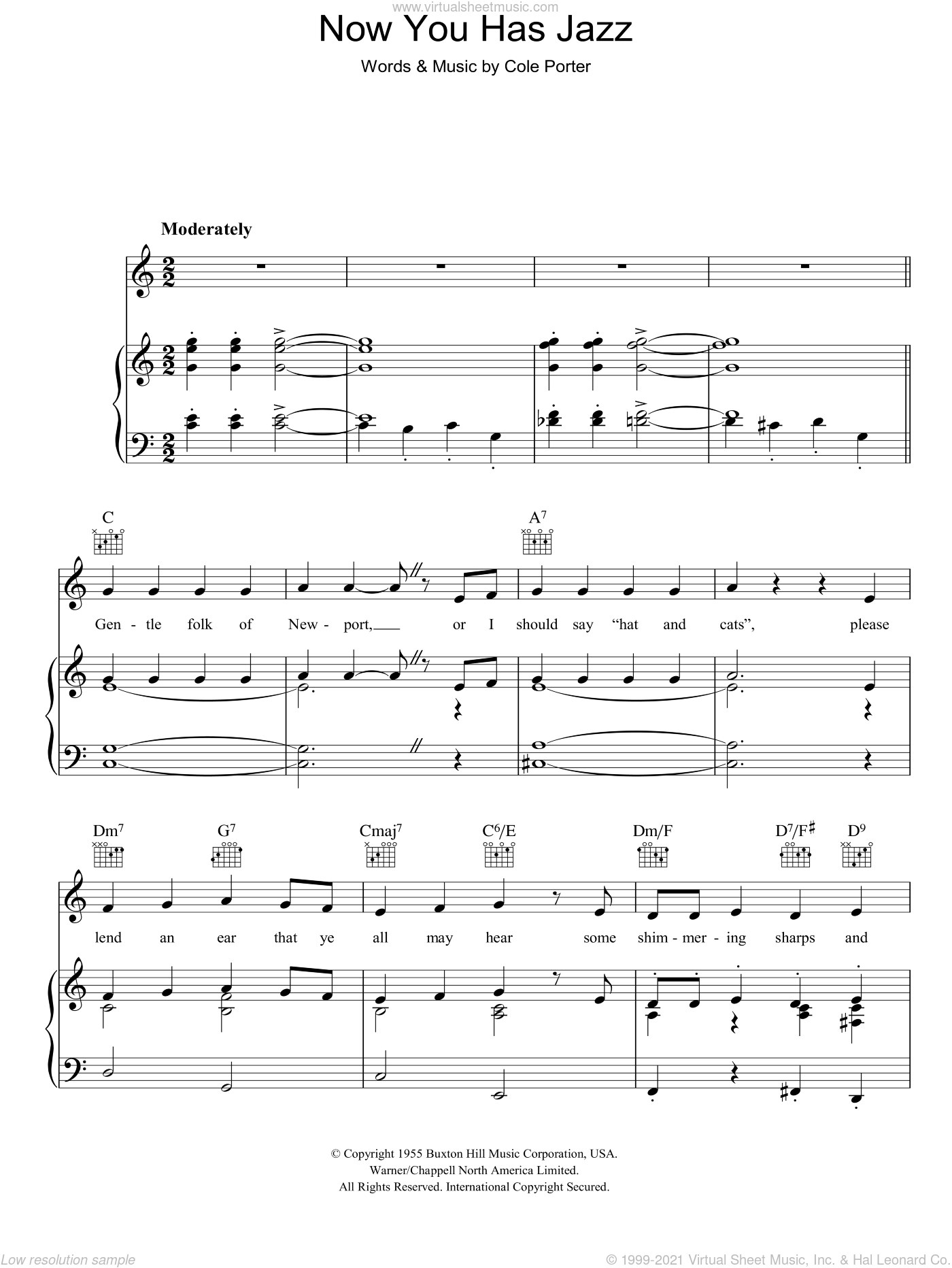 Now You Has Jazz sheet music for voice, piano or guitar by Cole Porter. Score Image Preview.
