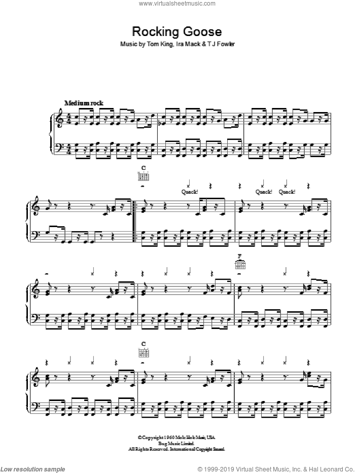 Rocking Goose sheet music for voice, piano or guitar by Ira Mack and Tom King. Score Image Preview.