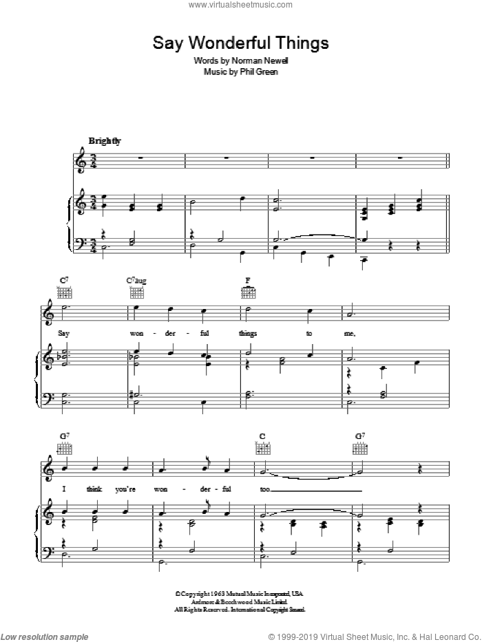 Say Wonderful Things sheet music for voice, piano or guitar by Phil Green
