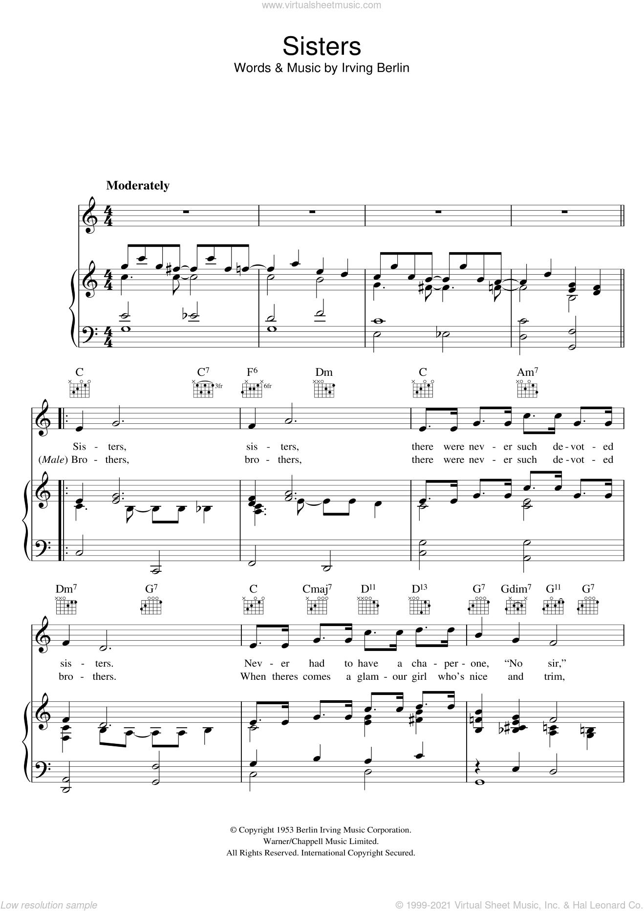 Sisters sheet music for voice, piano or guitar by Irving Berlin, intermediate voice, piano or guitar. Score Image Preview.