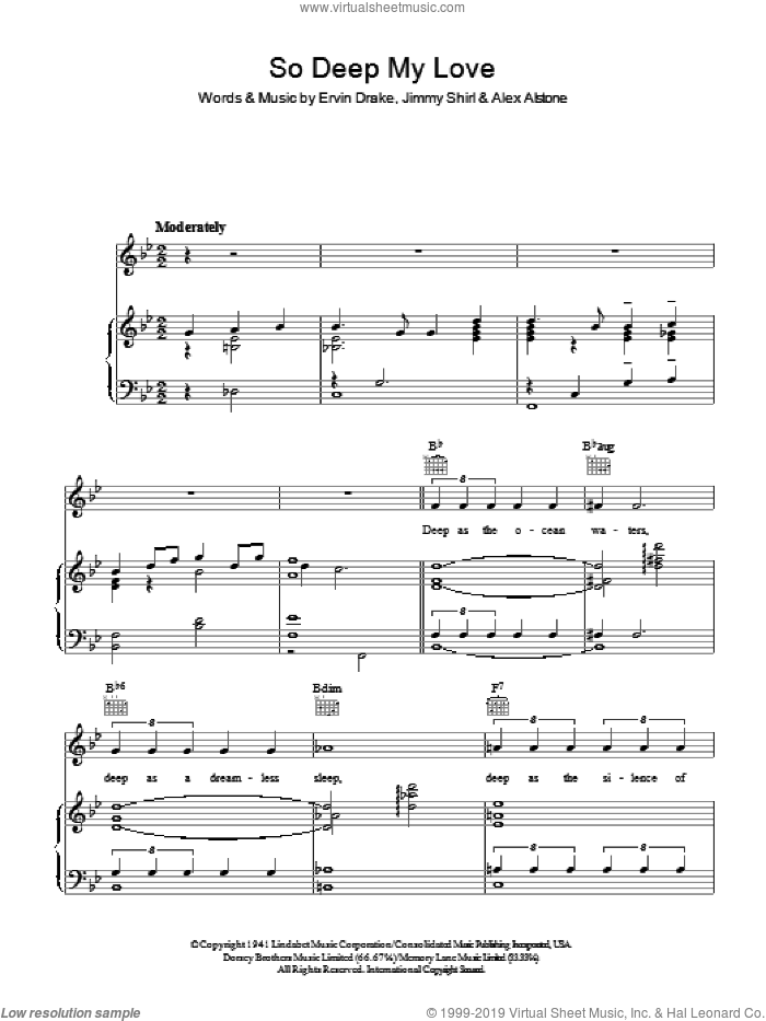 So Deep My Love sheet music for voice, piano or guitar by Alex Alstone, Ervin Drake and Jimmy Shirl. Score Image Preview.