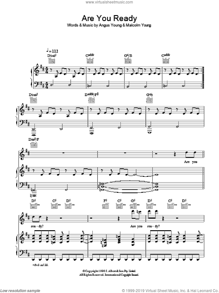 Are You Ready sheet music for voice, piano or guitar by Angus Young, AC/DC and Malcolm Young