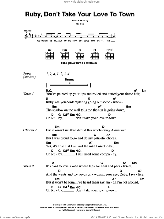 Ruby, Don't Take Your Love To Town sheet music for guitar (chords) by The Killers and Mel Tillis, intermediate guitar (chords). Score Image Preview.