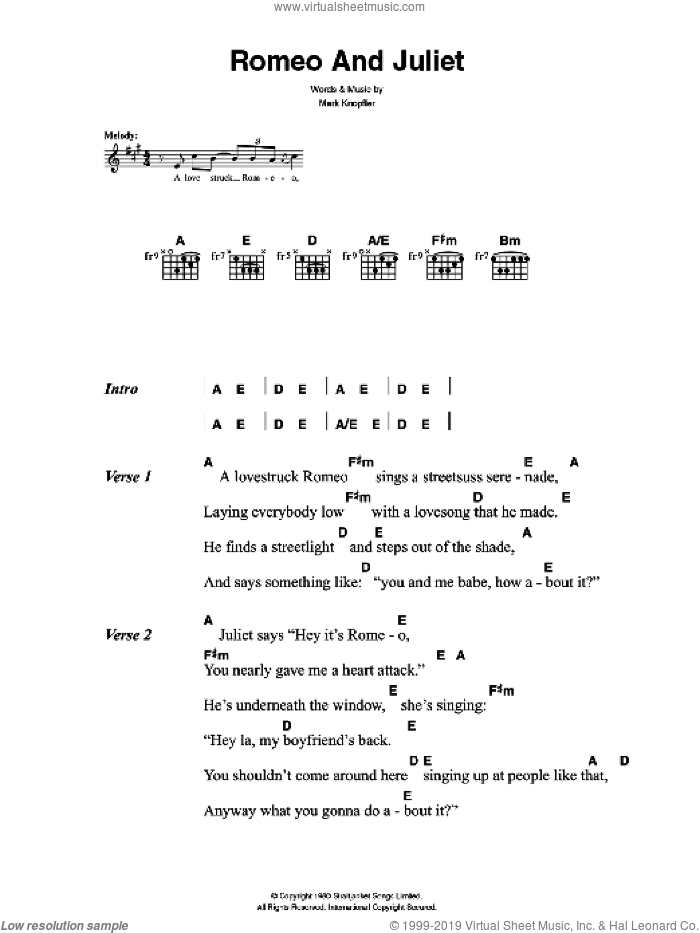 Killers - Romeo And Juliet sheet music for guitar (chords) [PDF]