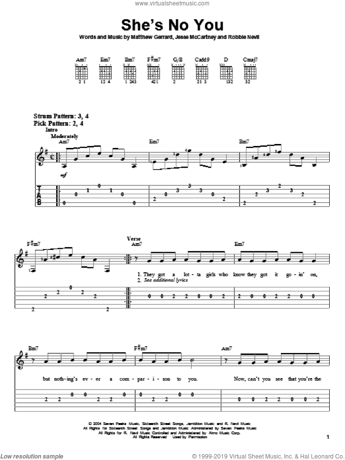 She's No You sheet music for guitar solo (easy tablature) by Jesse McCartney, Hannah Montana, Matthew Gerrard and Robbie Nevil. Score Image Preview.