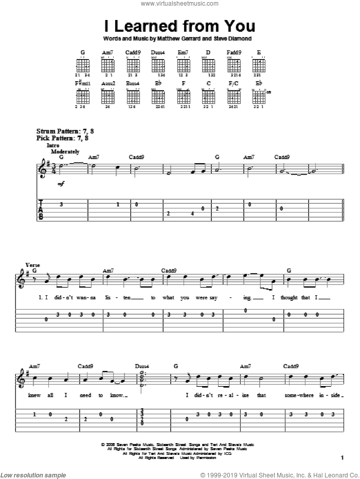 I Learned From You sheet music for guitar solo (easy tablature) by Steve Diamond, Hannah Montana, Miley Cyrus and Matthew Gerrard. Score Image Preview.