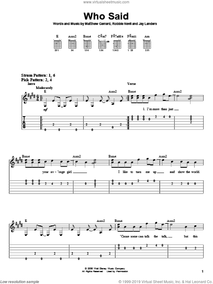 Who Said sheet music for guitar solo (easy tablature) by Hannah Montana, Miley Cyrus, Jay Landers, Matthew Gerrard and Robbie Nevil, easy guitar (easy tablature). Score Image Preview.