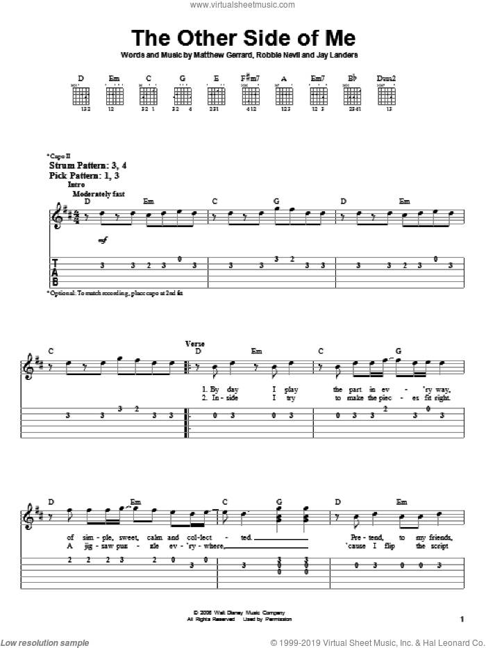 The Other Side Of Me sheet music for guitar solo (easy tablature) by Hannah Montana, Miley Cyrus, Jay Landers, Matthew Gerrard and Robbie Nevil, easy guitar (easy tablature)
