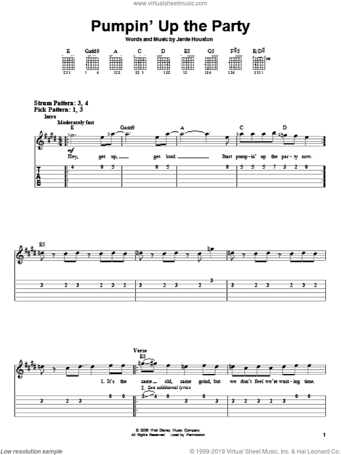 Pumpin' Up The Party sheet music for guitar solo (easy tablature) by Jamie Houston, Hannah Montana and Miley Cyrus. Score Image Preview.
