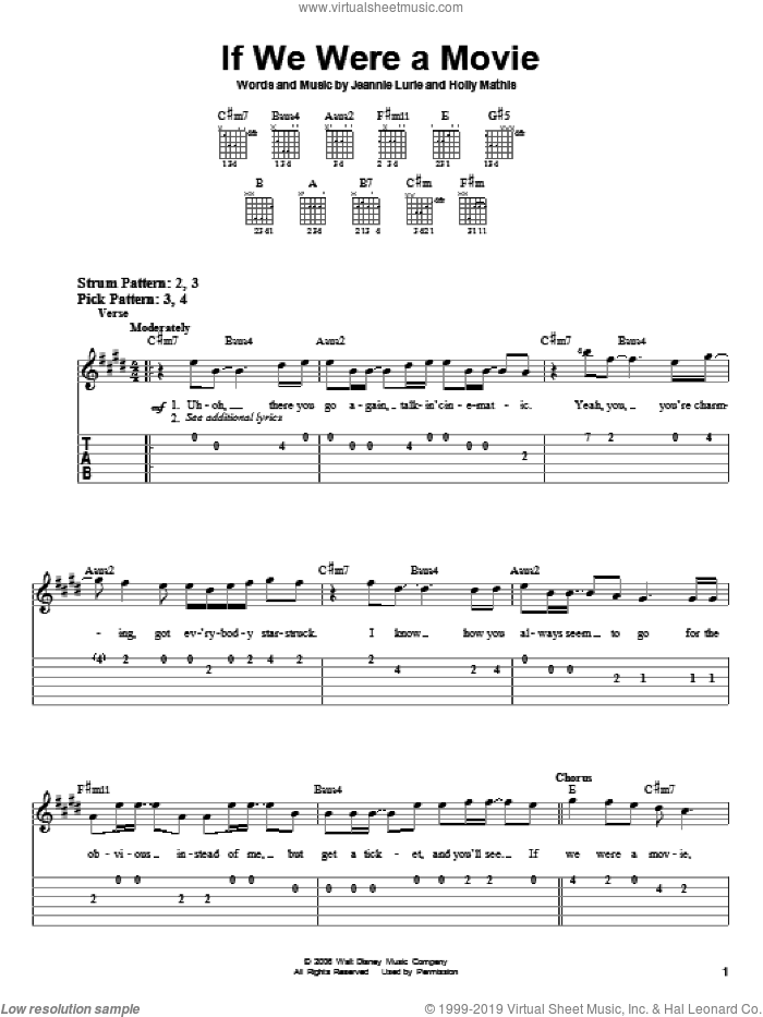 If We Were A Movie sheet music for guitar solo (easy tablature) by Hannah Montana, Miley Cyrus, Holly Mathis and Jeannie Lurie, easy guitar (easy tablature)