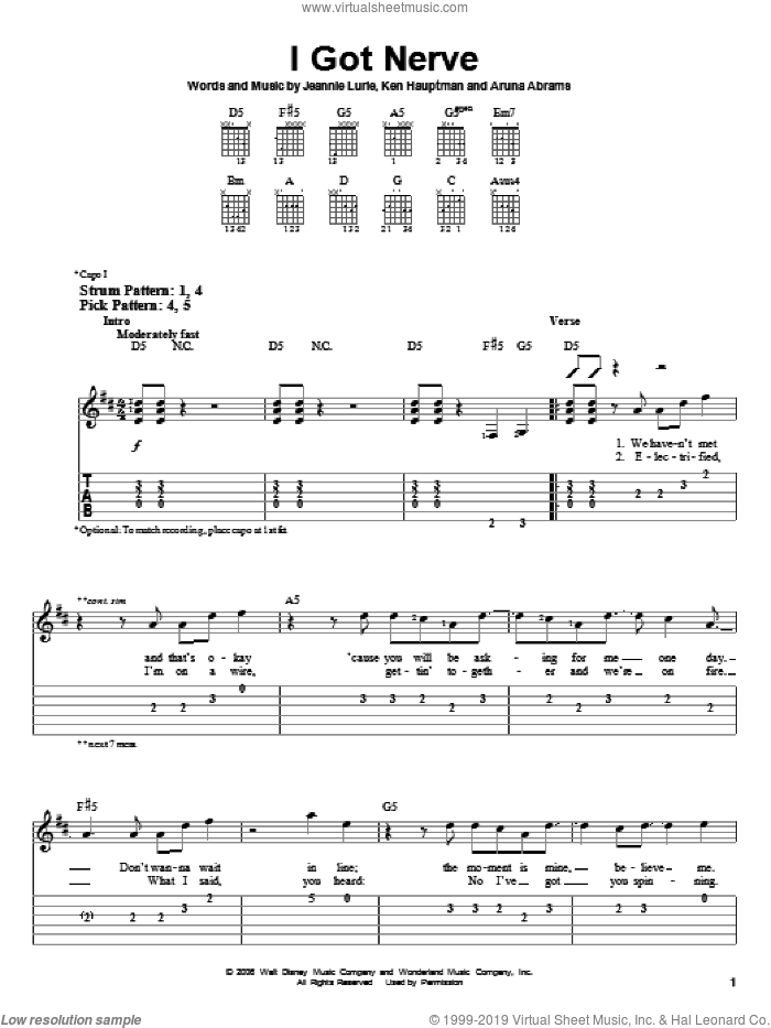 I Got Nerve sheet music for guitar solo (easy tablature) by Hannah Montana, Miley Cyrus and Jeannie Lurie, easy guitar (easy tablature). Score Image Preview.