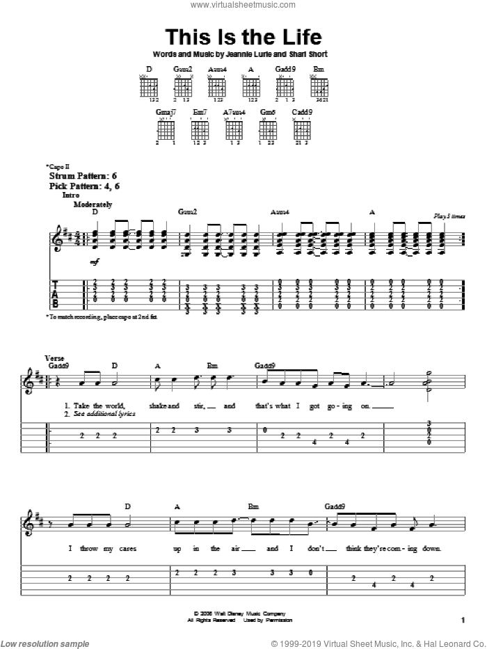 This Is The Life sheet music for guitar solo (easy tablature) by Shari Short, Hannah Montana, Miley Cyrus and Jeannie Lurie. Score Image Preview.