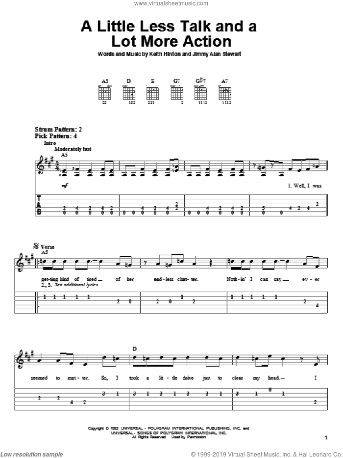 A Little Less Talk And A Lot More Action sheet music for guitar solo (easy tablature) by Keith Hinton