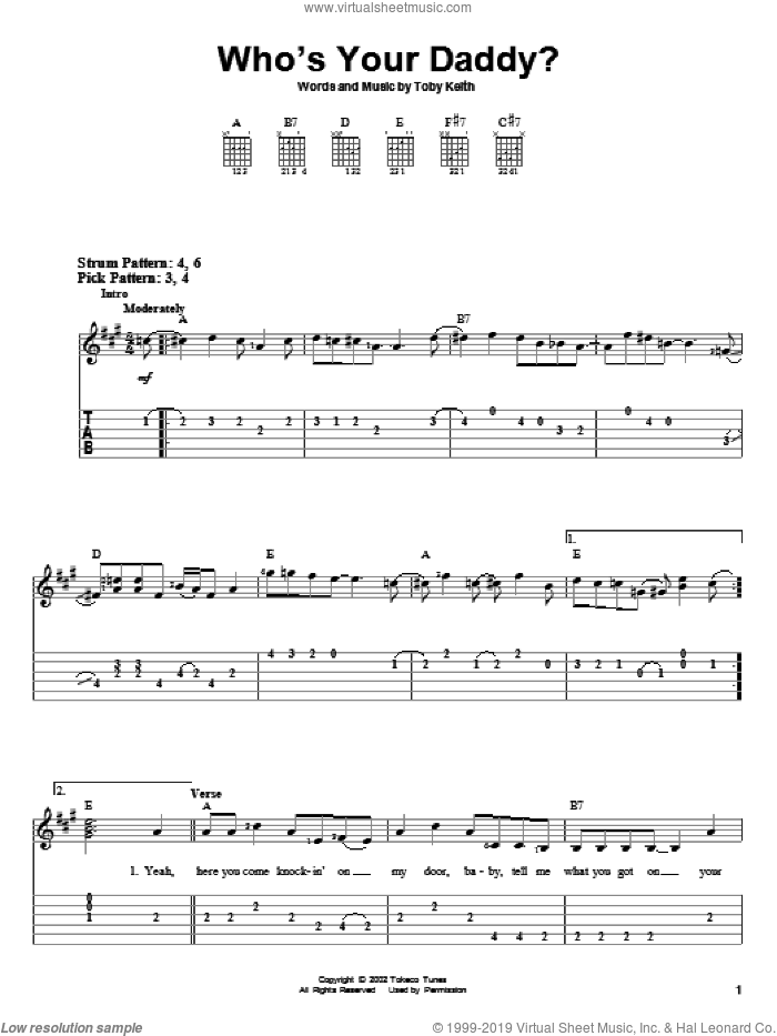 Who's Your Daddy? sheet music for guitar solo (easy tablature) by Toby Keith