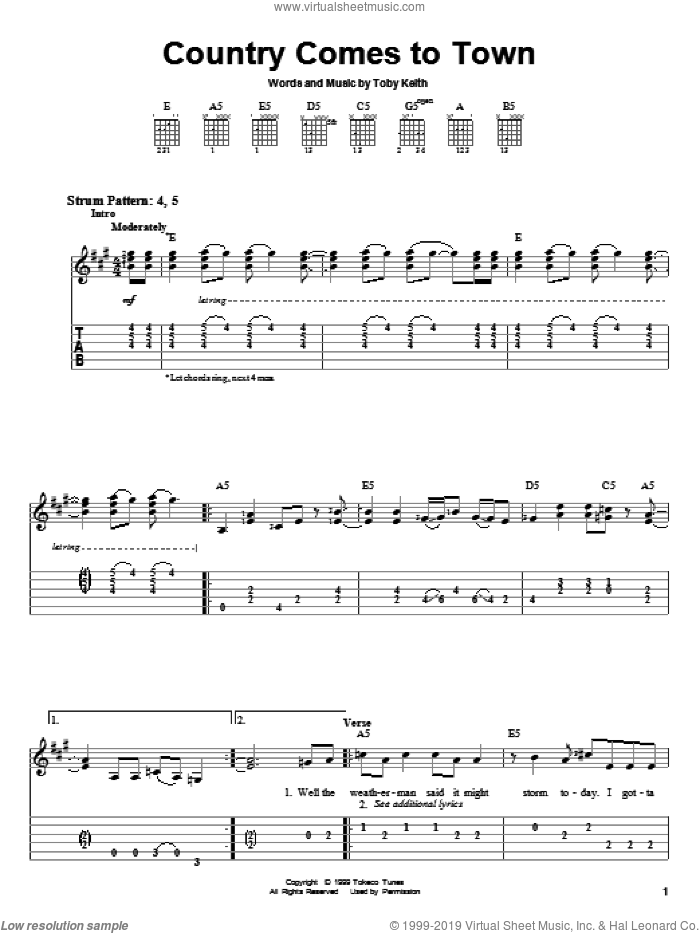 Country Comes To Town sheet music for guitar solo (easy tablature) by Toby Keith. Score Image Preview.