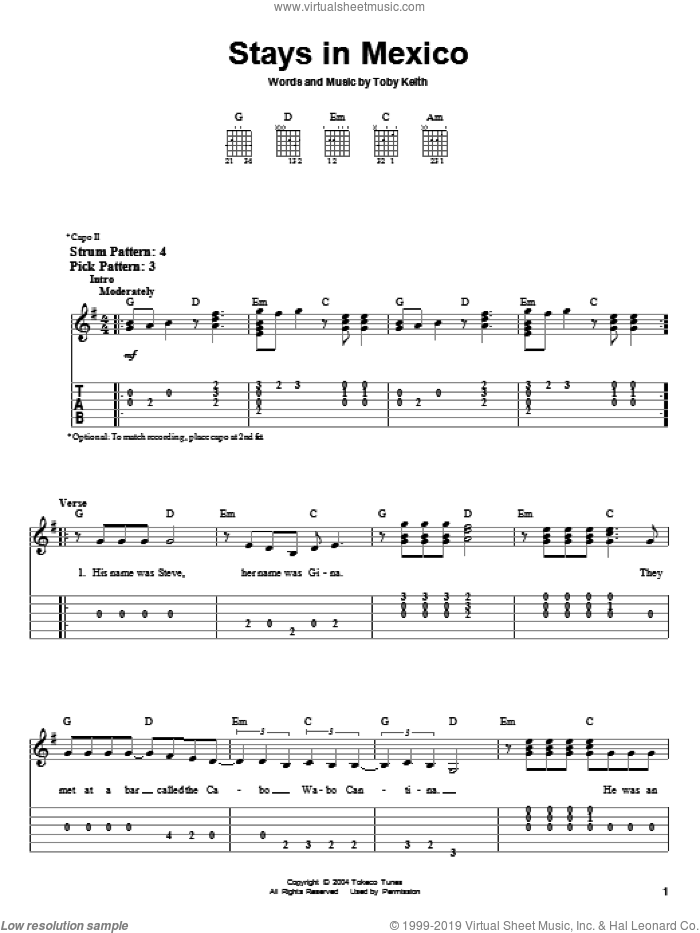 Stays In Mexico sheet music for guitar solo (easy tablature) by Toby Keith, easy guitar (easy tablature). Score Image Preview.