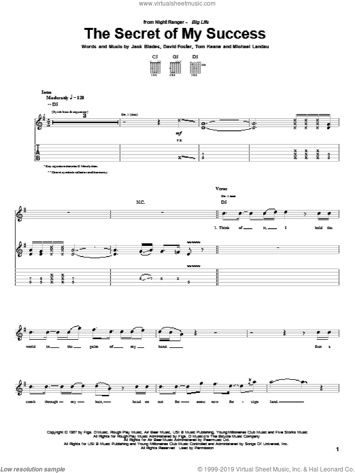 The Secret Of My Success sheet music for guitar (tablature) by Tom Keane and David Foster. Score Image Preview.