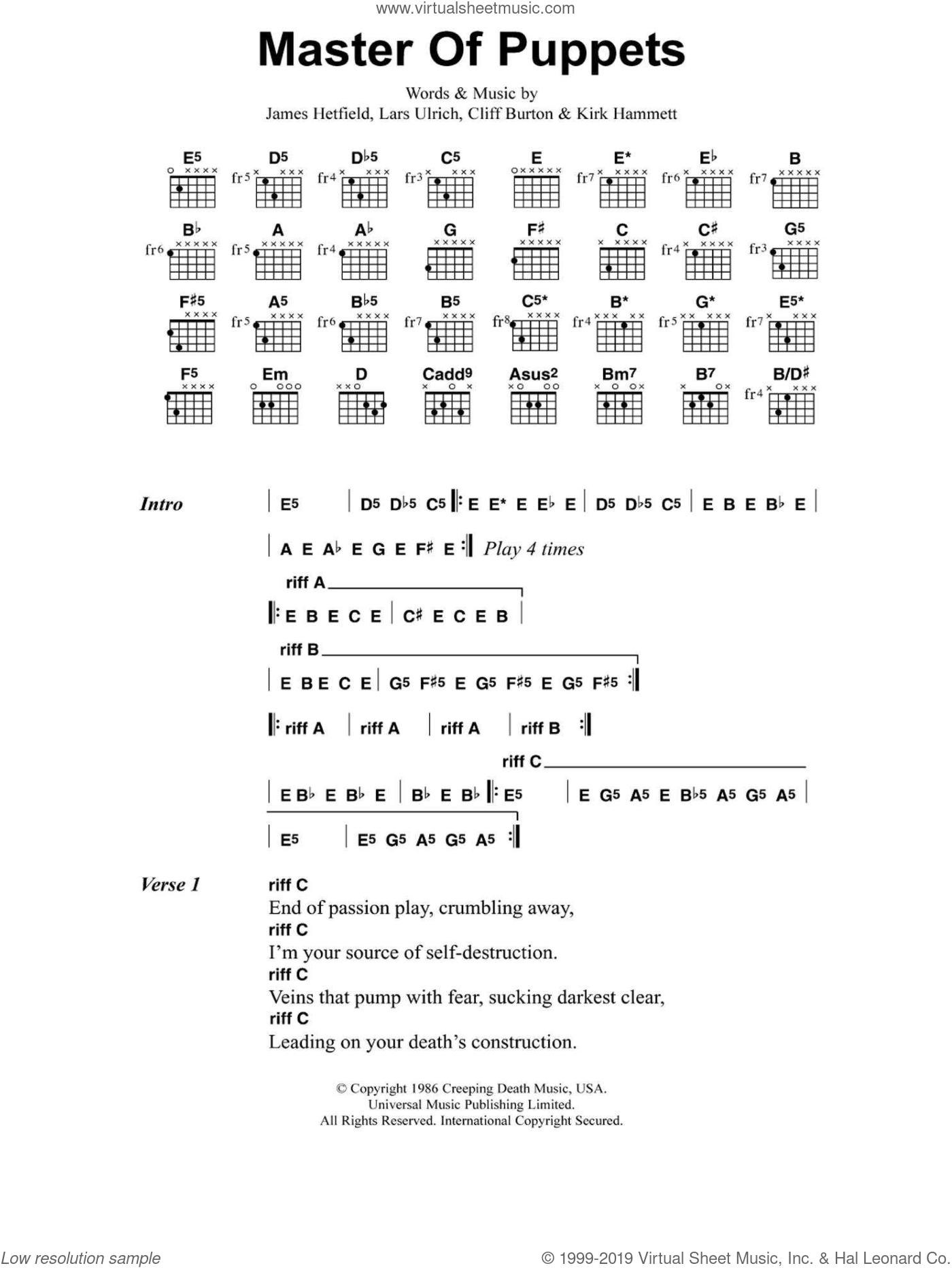 Master Of Puppets sheet music for guitar (chords) by Metallica, Cliff Burton, James Hetfield, Kirk Hammett and Lars Ulrich, intermediate skill level