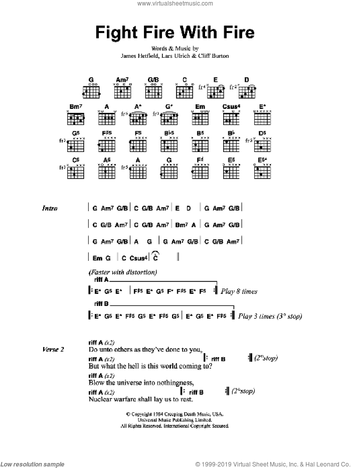Fight Fire With Fire sheet music for guitar (chords) by Metallica, Cliff Burton, James Hetfield and Lars Ulrich, intermediate. Score Image Preview.