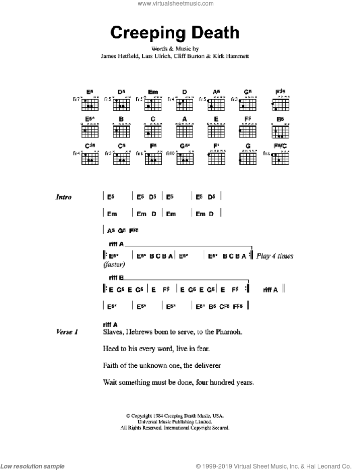 Creeping Death sheet music for guitar (chords, lyrics, melody) by Cliff Burton